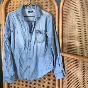 Lightweight denim button down women's shirt